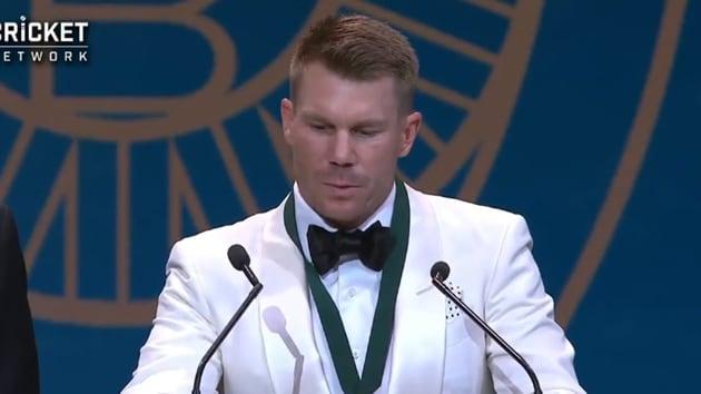 David Warner collects Allan Border medal.(Cricket Australia)