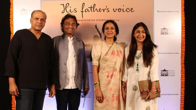 Ashwini Pawar (second from right) and Kaarthikeyan Kirubhakaran with Ashutosh Gowariker and his wife at the premeire of 'His Father's Voice' at Royal Opera House.