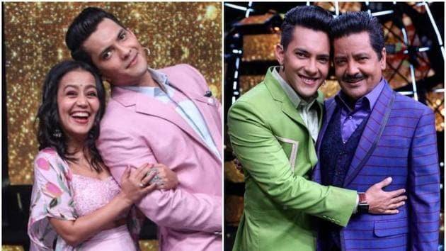 Aditya Narayan with Neha Kakkar (L) and with his father Udit Narayan on the sets of Indian Idol 11.