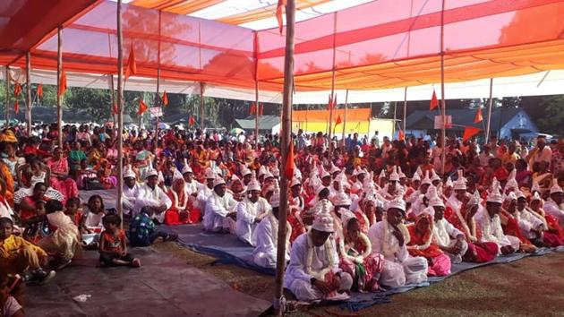 A mas marriage organised buy the VHP in Kumargran in Bengal's Alipurduar district in December 2018.(Sourced)