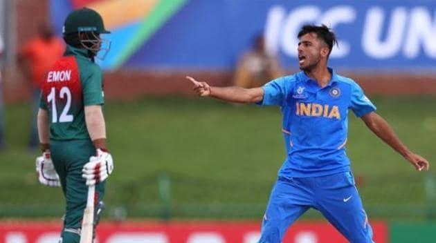 India U19 leg-spinner Ravi Bishnoi during the U19 World Cup final against Bangladesh U19(Twitter)