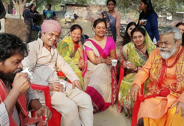 Rajpal Yadav, Omkar Nath Manikpuri 'Nattha' and Anupam Shyam in Lucknow.(Sourced)
