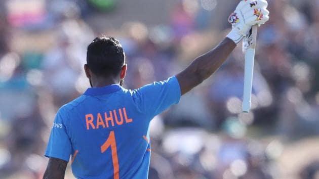 India's KL Rahul celebrates his 100 runs.(AFP)