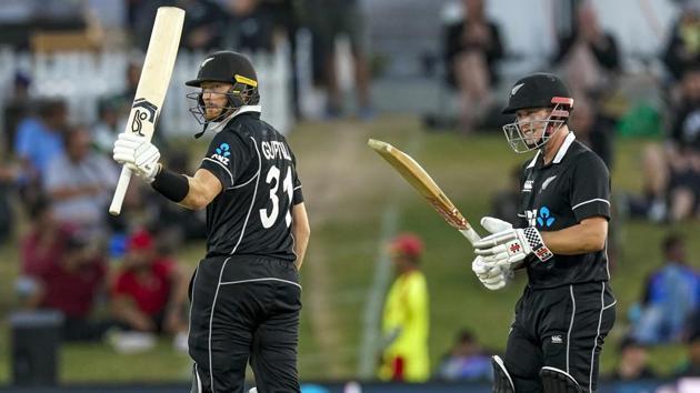 New Zealand's Martin Guptill celebrates his 50 runs.(AP)