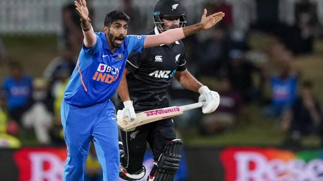 India's Jasprit Bumrah, left, appeals unsuccessfully to the umpire.(AP)