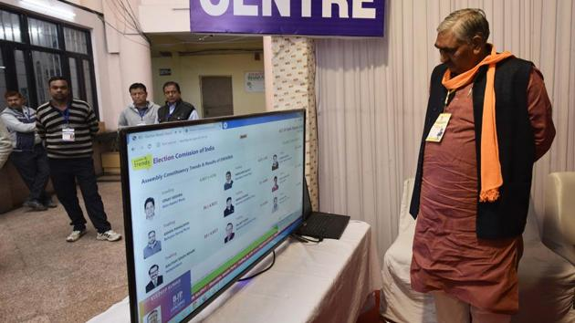 BJP Candidate Rajesh Gehlot look on a TV screen displaying poll results at Dwarka Sector 09 counting centre, in New Delhi, India, on Tuesday, February 11, 2020.(Vipin Kumar/HT PHOTO)