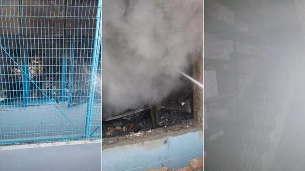 Fire breaks out at a factory in Delhi's Mundka, 17 fire engines at spot, reports ANI(HT Photo)