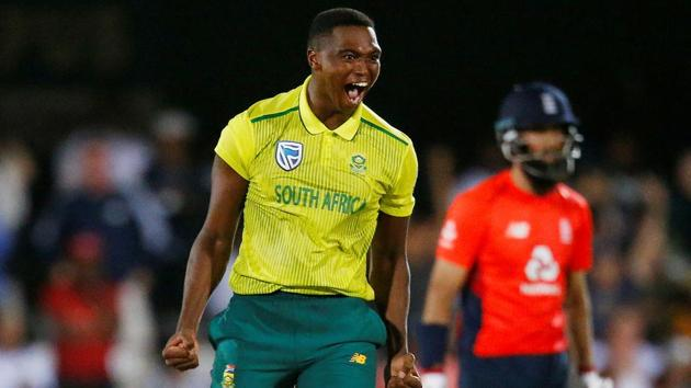 South Africa's Lungi Ngidi celebrates the wicket of England's Moeen Ali(REUTERS)