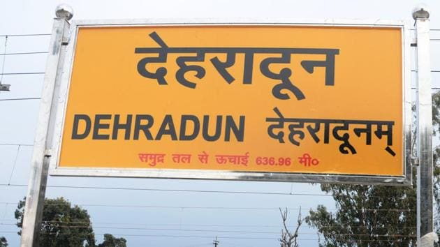 View of Dehradun railway station with the name written in Sanskrit on the day (February 8, 2020) the station re-opened for public after three months.(Pravin Dandriyal/HT Photo)