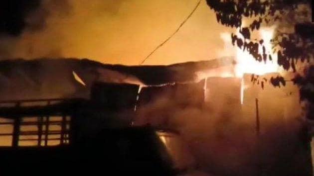 A fire broke out a godown in Madhya Pradesh's Jabalpur late Thursday.(ANI Photo)