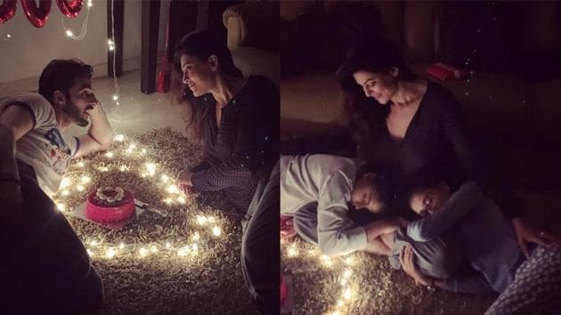 Sushmita Sen with boyfriend Rohman Shawl and daughters Renee and Alisah during Valentine's Day celebrations.