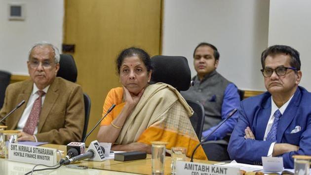 Finance Minister Nirmala Sitharaman during a meeting at NITI Aayog, in New Delhi.(PTI)