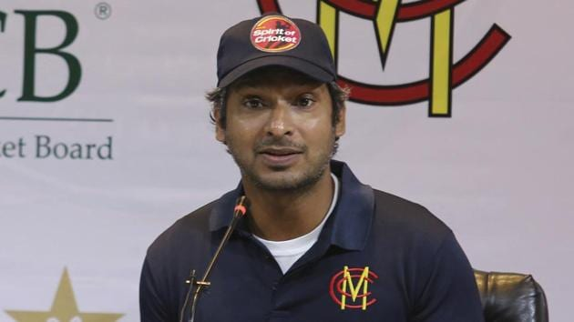 Former Sri Lankan captain Kumar Sangakkara addresses a news conference in Lahore, Pakistan(AP)