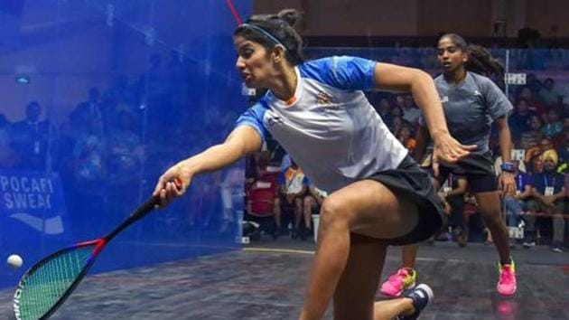 Joshna Chinappa in action during women's squash semifinal match against Malaysia at the 18th Asian Games 2018.(PTI)