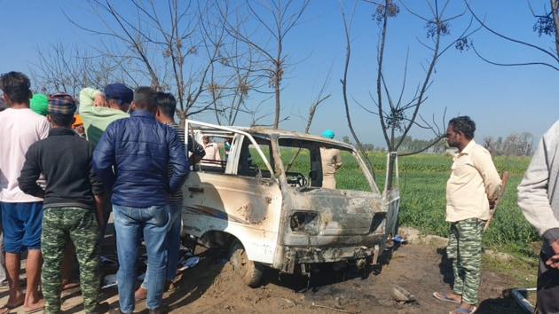 Four students, aged between four and six, were killed and eight others injured on Saturday after their school van caught fire in Longowal town of Punjab's Sangrur district(HT Photo)