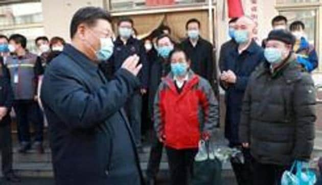 Chinese President Xi Jinping inspects the novel coronavirus prevention and control work at Anhuali Community in Beijing, China(REUTERS)