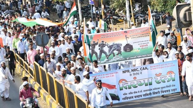 A rally being taken out against NPR and NRC.(HT Photo)