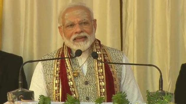 PM Modi addresses the gathering at the Jagadguru Vishwaradhya Gurukul in Varanasi on Sunday(Photo Courtesy- Twitter:@BJP4India)