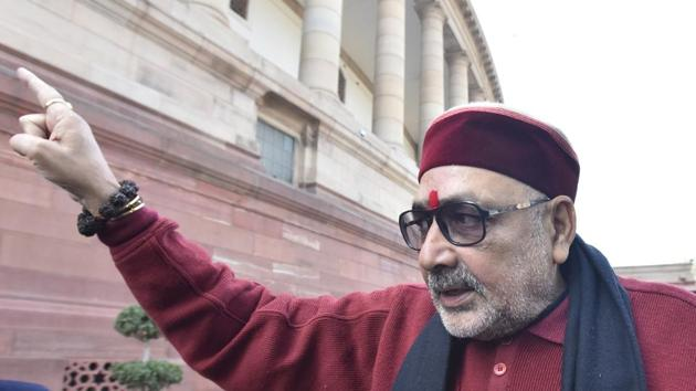 Minister of Animal Husbandry, Dairying and Fisheries, Giriraj Singh seeks a law to control country's population.(Sonu Mehta/HT PHOTO)