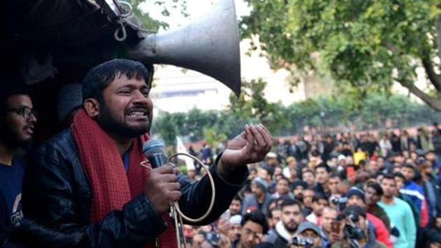 Former JNUSU president Kanhaiya Kumar addressing the students during a protest march from Mandi House to HRD Ministry, in New Delhi on January 9, 2020.(HT Photo)