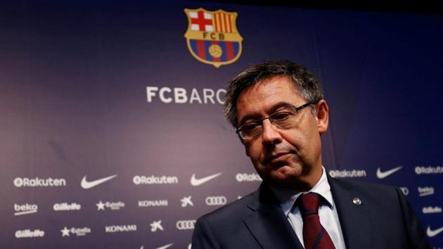 Barcelona President Josep Maria Bartomeu attends a news conference at Camp Nou stadium.(REUTERS)