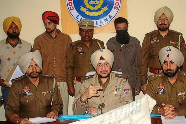 The accused in police custody in Ludhiana on Monday.(HT PHOTO)