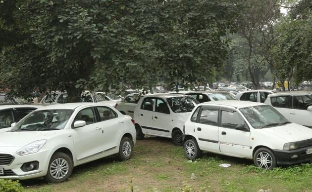 Impounded vehicles parked at Children's Traffic Park in Sector 23.(HT PHOTO)