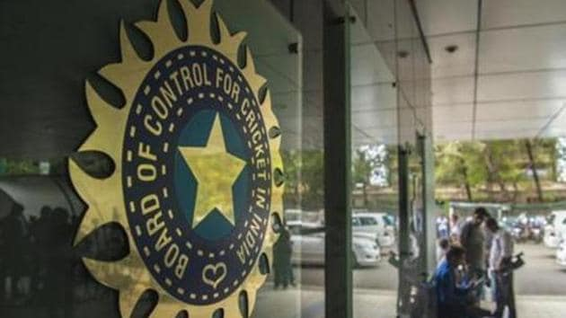 A view of logo of the Board of Control for Cricket in India (BCCI).(Hindustan Times via Getty Images)
