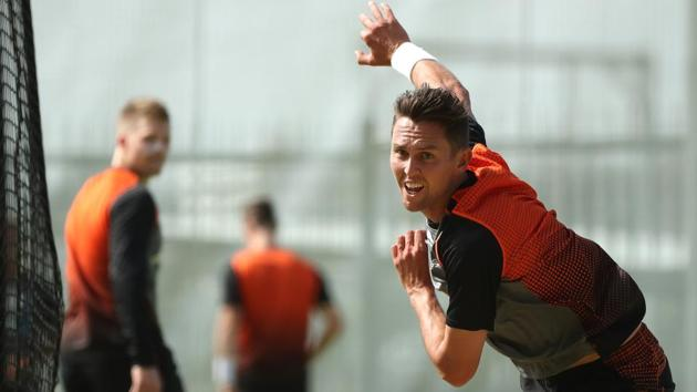 PERTH, AUSTRALIA - DECEMBER 10: Trent Boult bowls during a New Zealand Test team training session at Optus Stadium on December 10, 2019 in Perth, Australia. (Photo by Paul Kane/Getty Images)(Getty Images)
