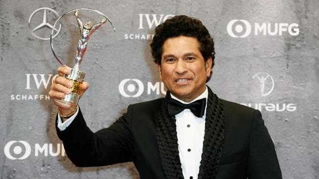 "Sachin Tendulkar poses after winning the Laureus Best Sporting Moment award for ""Carried on the shoulders of a nation""(REUTERS)"