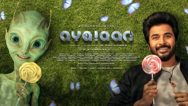 Ayalaan's first look shows Sivakarthikeyan and his alien friend.(Instagram)