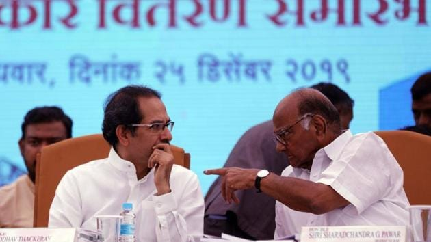 NCP chief Sharad Pawar (right) with Maharashtra Chief Minister Uddhav Thackeray at a function in Pune, in December last year.(Rahul Raut/HT Photo)