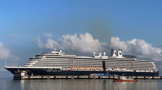 The cruise ship MS Westerdam at dock in the Cambodian port of Sihanoukville, Cambodia.(Reuters Photo)