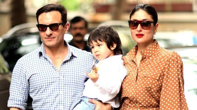 Bollywood actor Saif Ali Khan and wife Kareena Kapoor Khan with their son Taimur Ali Khan.