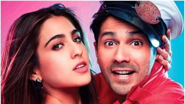 Varun Dhawan and Sara Ali Khan in a poster for Coolie No 1.