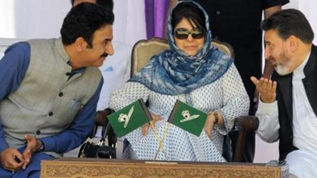 Mehbooba Mufti seen with Peer Mansoor in this picture taken during PDP rally in Srinagar on June 03, 2018.(PTI Photo/File)