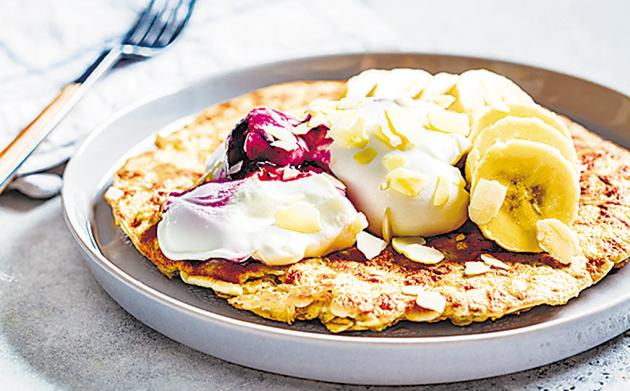 'To work, for me, an omelette must have masala,' Vijayakar says, 'but the truth is you can mix the eggs with pretty much anything - even, as above, oatmeal, whipped cream and fruit.'(Shutterstock)