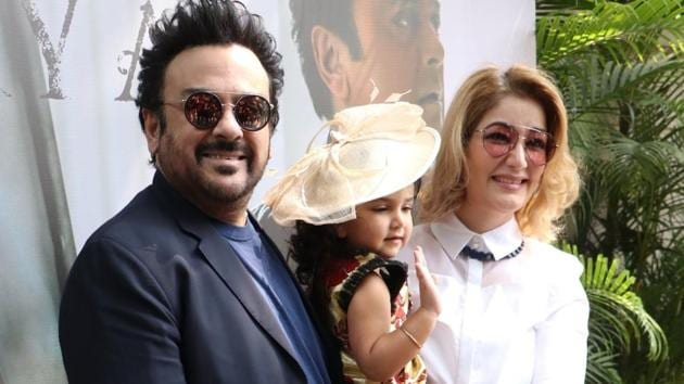 Singer Adnan Sami at the launch of his music album Tu Yaad Aya in Mumbai with wife Roya Faryabi and daughter Medina..(IANS)