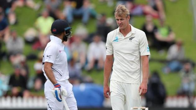 India's Virat Kohli and New Zealand's Kyle Jamieson during the IND vs NZ 1st Test match.(REUTERS)