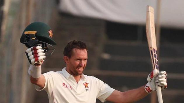 Craig Ervine celebrates after scoring a century.(BCB)