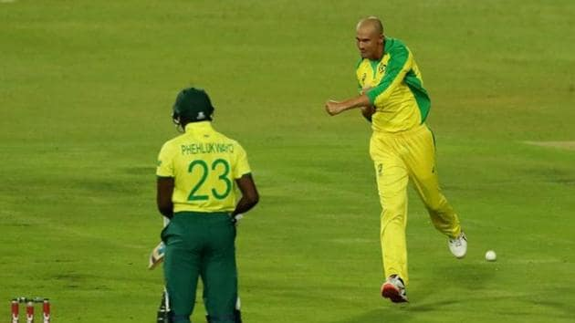 Cricket - South Africa v Australia - First T20 - Imperial Wanderers Stadium, Johannesburg, South Africa - February 21, 2020 Australia's Ashton Agar celebrates taking the wicket of South Africa's Andile Phehlukwayo Action Images via Reuters/Mike Hutchings(Action Images via Reuters)
