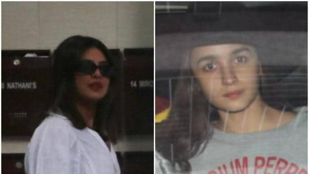 Alia Bhatt and Priyanka Chopra at Katrina Kaif's house.(Varinder Chawla)