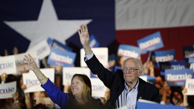 Democratic presidential candidate Sen. Bernie Sanders, I-Vt., right, with his wife Jane, attends a campaign event in San Antonio, Saturday, Feb. 22, 2020. (AP Photo/Eric Gay)(AP)