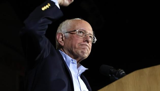 US Democratic presidential candidate Senator Bernie Sanders pumps his fist as he speaks to supporters about being declared the winner of the Nevada Democratic Caucus during a campaign rally in San Antonio, Texas, U.S., February 22, 2020. REUTERS/Mike Segar(Reuters photo)