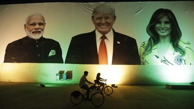 """Trump is visiting the city of Ahmedabad in Gujarat during a two-day trip to India to attend an event called """"Namaste Trump,"""" which translates to """"Greetings, Trump,"""" at a cricket stadium along the lines of a """"Howdy Modi"""" rally attended by Indian Prime Minister Narendra Modi in Houston last September.(AP)"""