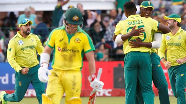 South Africa's Kagiso Rabada celebrates after taking the wicket of Australia's Matthew Wade.(Action Images via Reuters)