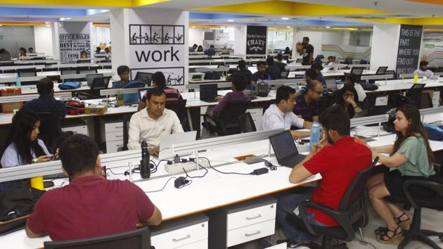 Gurugram is a hub of co-working spaces and these collaborative spaces are helping professionals finally achieve the elusive work-life balance.(Yogendra Kumar/HT PHOTO)