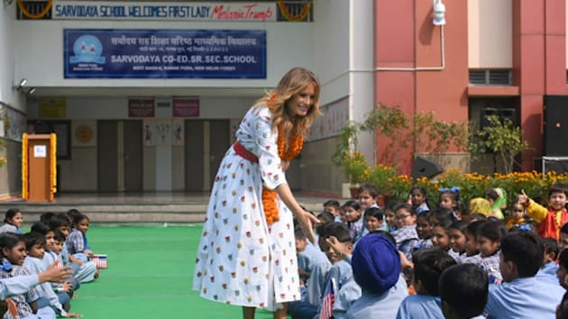 US First Lady Melania Trump interacted with the students and teachers at a government school in South Delhi.(Sanchit Khanna/HT Photo)
