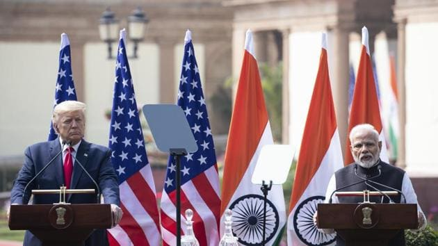 US President Donald Trump and Prime Minister Narendra Modi issued a joint statement after talks at Hyderabad House in New Delhi on Tuesday.(AP Photo)