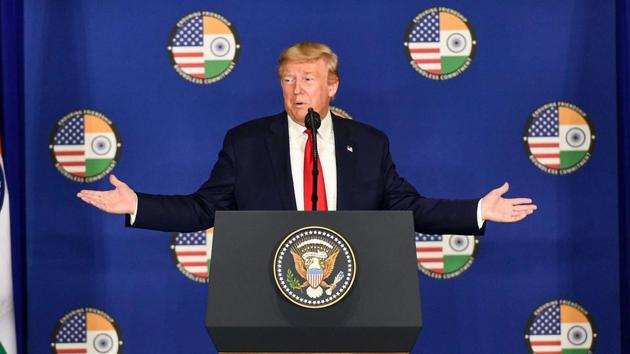 US President Donald Trump speaks during a press briefing in New Delhi, Tuesday.(PTI)